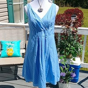 Adorable blue and whit polks dot dress